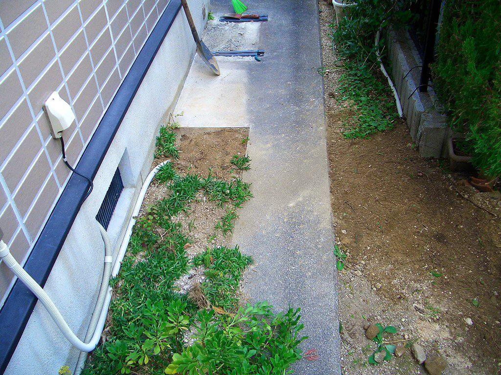 カーポート用電源工事(地中埋設の場所の埋戻し)