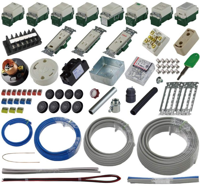 第二種電気工事士技能試験練習用材料 「器具・電線」セットの内容