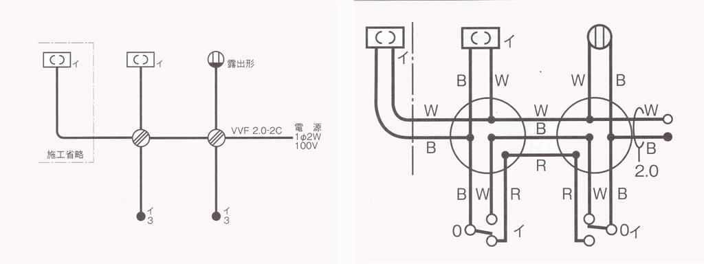 第二種電気工事士の技能試験の出題例(3路スイッチの回路)点線図と複線図