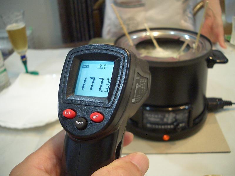 ほんわかふぇ 電気卓上串揚げ鍋 油の温度測定 放射温度計